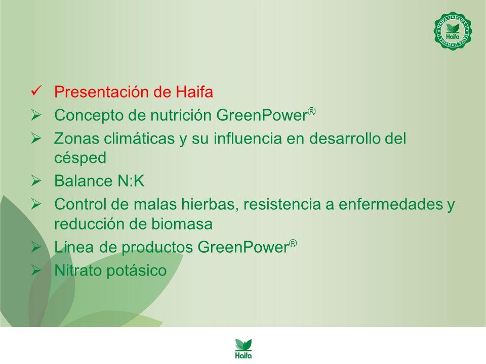 Presentación de Haifa Concepto de nutrición GreenPower ® Zonas climáticas y su influencia en desarrollo del césped Balance N:K Control de malas hierbas, resistencia a enfermedades y reducción de biomasa Línea de productos GreenPower ® Nitrato potásico