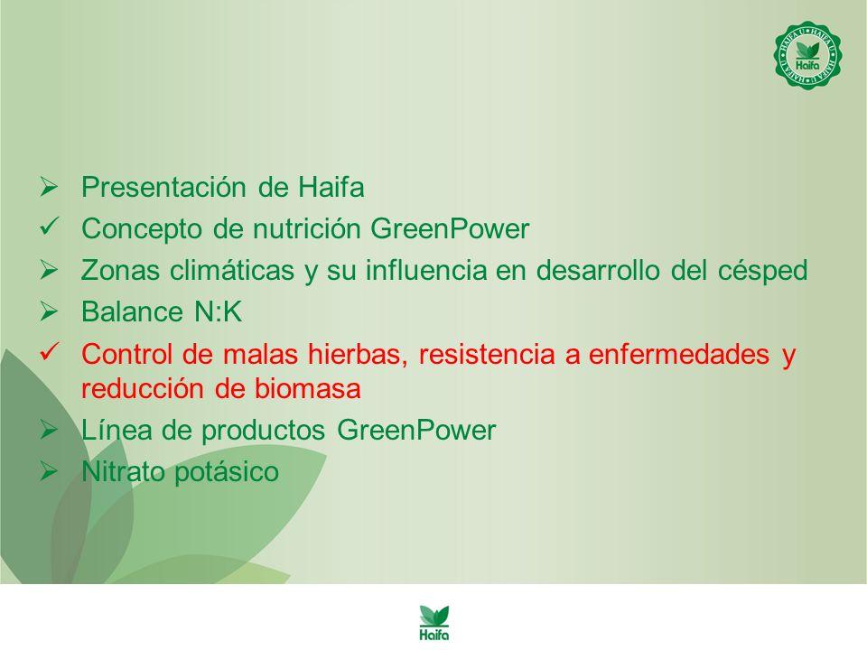 Presentación de Haifa Concepto de nutrición GreenPower Zonas climáticas y su influencia en desarrollo del césped Balance N:K Control de malas hierbas, resistencia a enfermedades y reducción de biomasa Línea de productos GreenPower Nitrato potásico