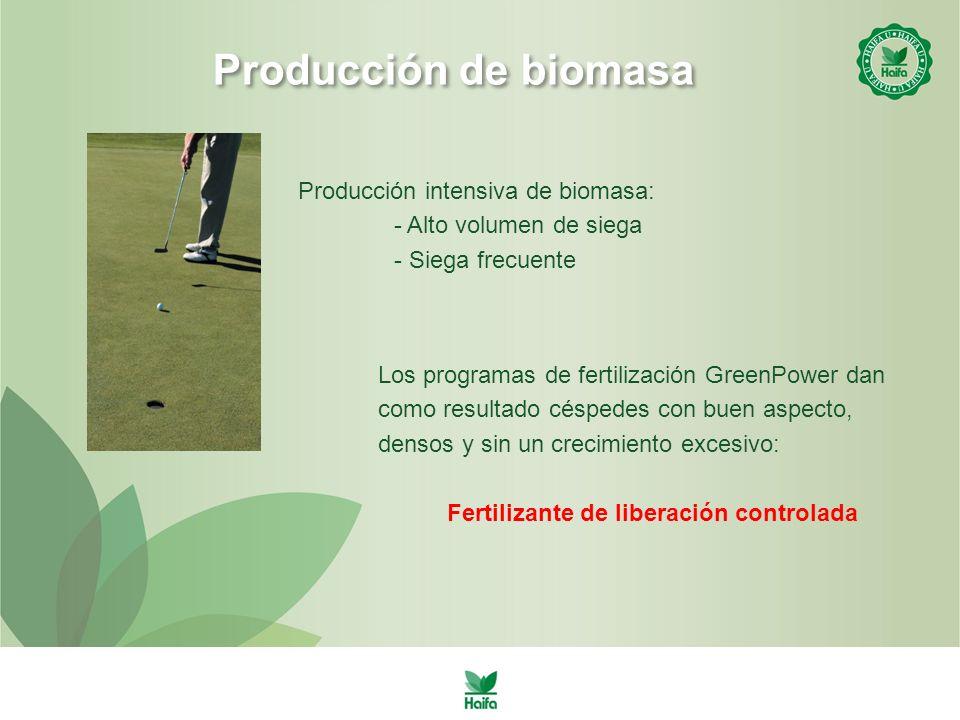 Producción de biomasa Producción intensiva de biomasa: - Alto volumen de siega - Siega frecuente Los programas de fertilización GreenPower dan como resultado céspedes con buen aspecto, densos y sin un crecimiento excesivo: Fertilizante de liberación controlada