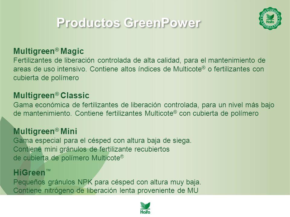 Productos GreenPower Multigreen ® Magic Fertilizantes de liberación controlada de alta calidad, para el mantenimiento de areas de uso intensivo.