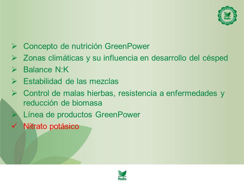 Concepto de nutrición GreenPower Zonas climáticas y su influencia en desarrollo del césped Balance N:K Estabilidad de las mezclas Control de malas hierbas, resistencia a enfermedades y reducción de biomasa Línea de productos GreenPower Nitrato potásico