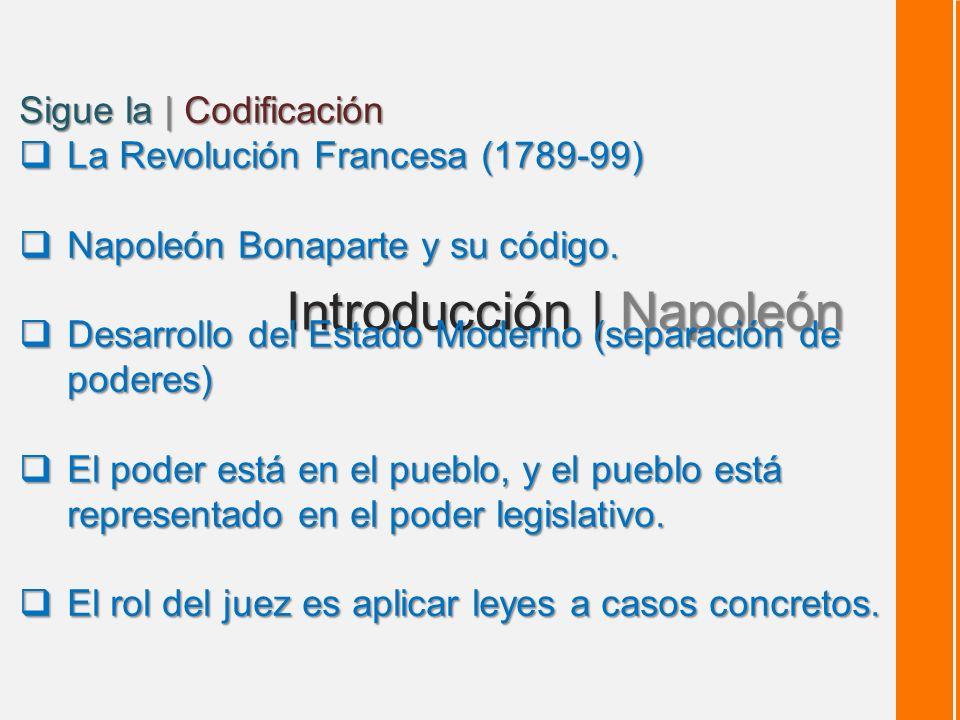 Introducción | Napoleón Sigue la | Codificación La Revolución Francesa (1789-99) La Revolución Francesa (1789-99) Napoleón Bonaparte y su código.
