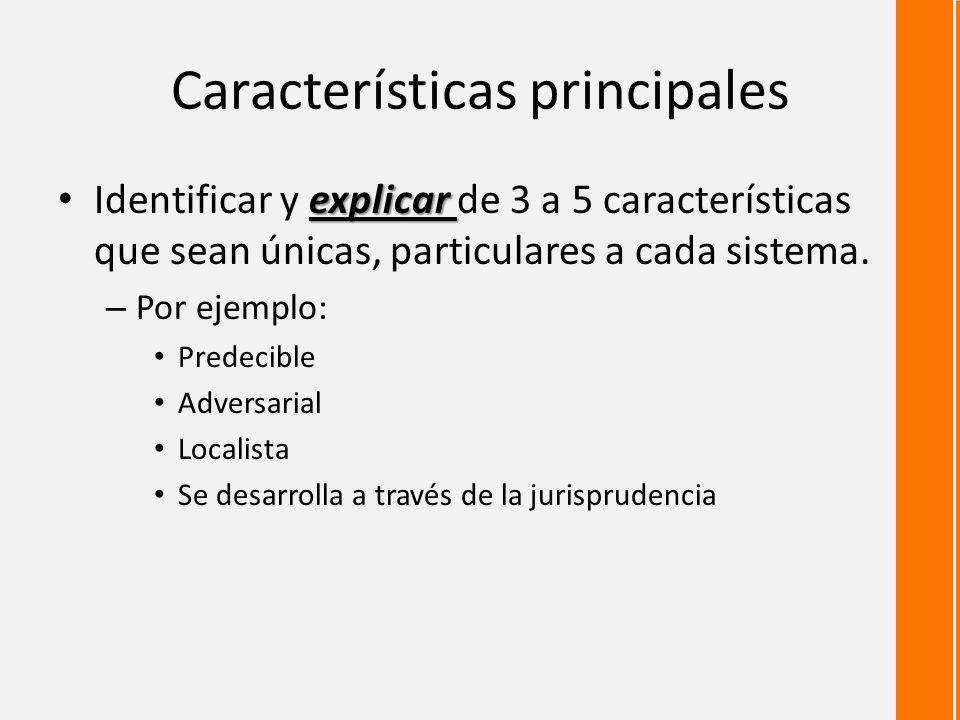 Características principales explicar Identificar y explicar de 3 a 5 características que sean únicas, particulares a cada sistema.