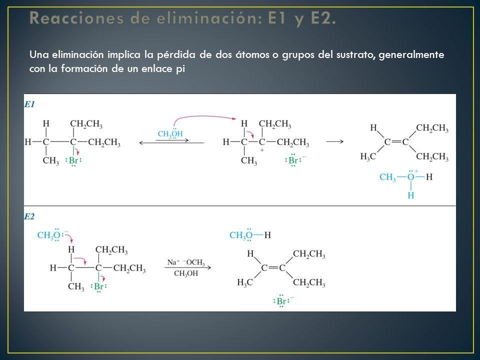 Una eliminación implica la pérdida de dos átomos o grupos del sustrato, generalmente con la formación de un enlace pi