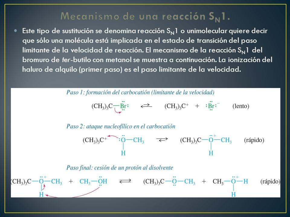 Este tipo de sustitución se denomina reacción S N 1 o unimolecular quiere decir que sólo una molécula está implicada en el estado de transición del pa