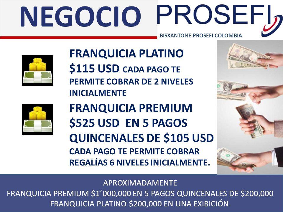 APROXIMADAMENTE FRANQUICIA PREMIUM $1´000,000 EN 5 PAGOS QUINCENALES DE $200,000 FRANQUICIA PLATINO $200,000 EN UNA EXIBICIÓN. BISXANTONE PROSEFI COLO