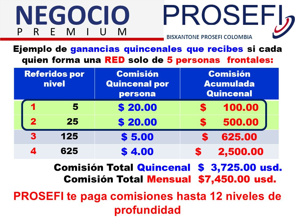 BISXANTONE PROSEFI COLOMBIA NEGOCIO P R E M I U M PROSEFI te paga comisiones hasta 12 niveles de profundidad Referidos por nivel Comisión Quincenal po