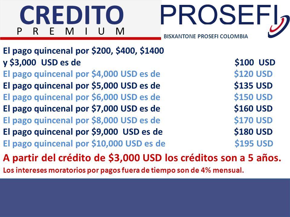 BISXANTONE PROSEFI COLOMBIA El pago quincenal por $200, $400, $1400 y $3,000 USD es de $100 USD El pago quincenal por $4,000 USD es de $120 USD El pag