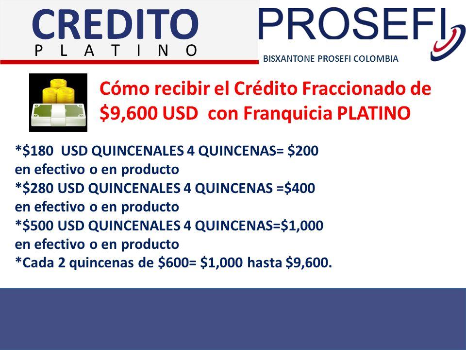 BISXANTONE PROSEFI COLOMBIA Cómo recibir el Crédito Fraccionado de $9,600 USD con Franquicia PLATINO *$180 USD QUINCENALES 4 QUINCENAS= $200 en efecti