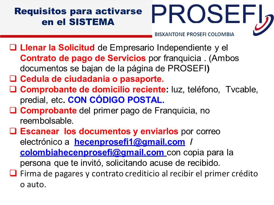 BISXANTONE PROSEFI COLOMBIA Requisitos para activarse en el SISTEMA Llenar la Solicitud de Empresario Independiente y el Contrato de pago de Servicios