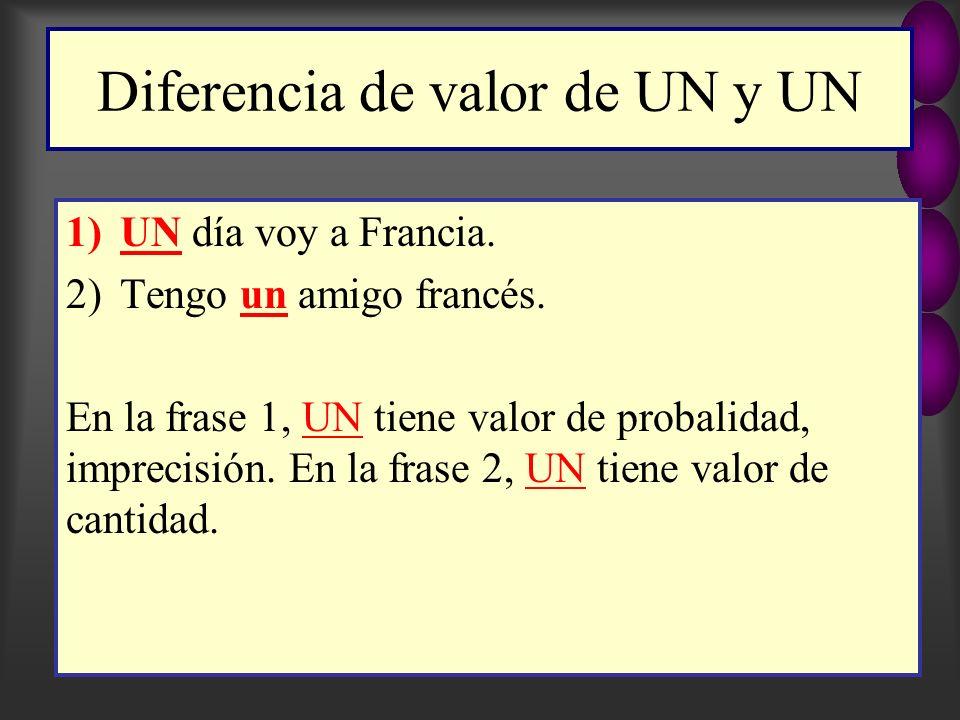 Diferencia de valor de UN y UN 1)UN día voy a Francia.