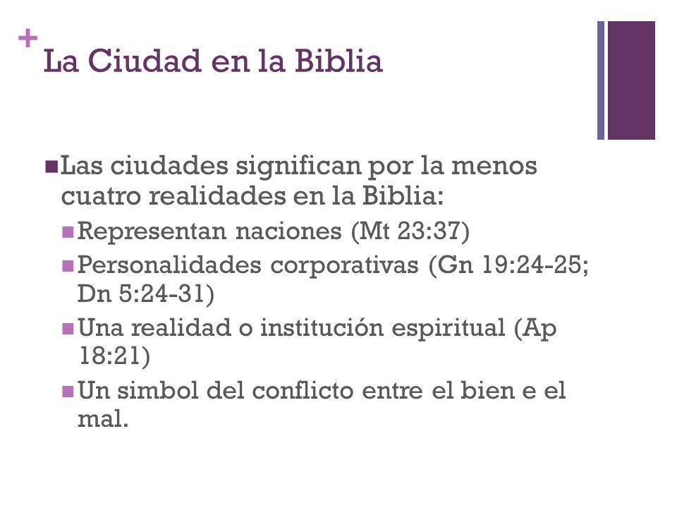 + La Ciudad en la Biblia Las ciudades significan por la menos cuatro realidades en la Biblia: Representan naciones (Mt 23:37) Personalidades corporati
