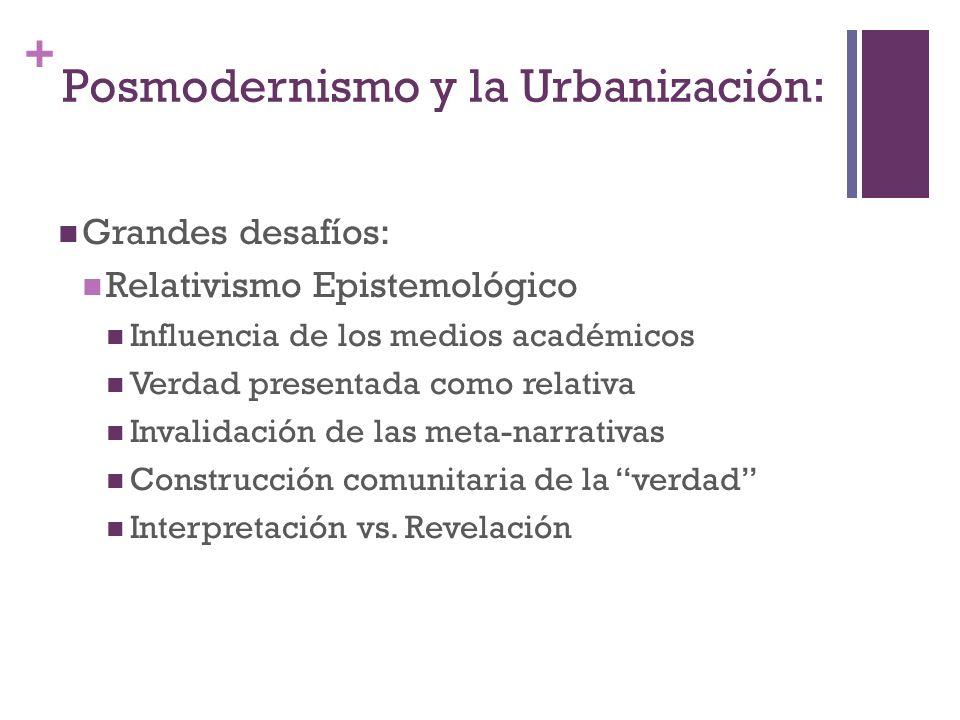+ Grandes desafíos: Relativismo Epistemológico Influencia de los medios académicos Verdad presentada como relativa Invalidación de las meta-narrativas