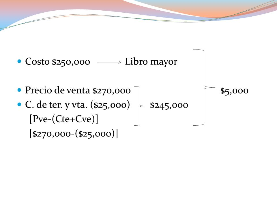 Inventario Otros gastos $250,0000 $245,000 $5,000 $5,000 Su registro quedaría de la siguiente manera: Concepto DebeHaber Otros gastos$5,000 Pérdida en valuación de inventario Inventario$5,000