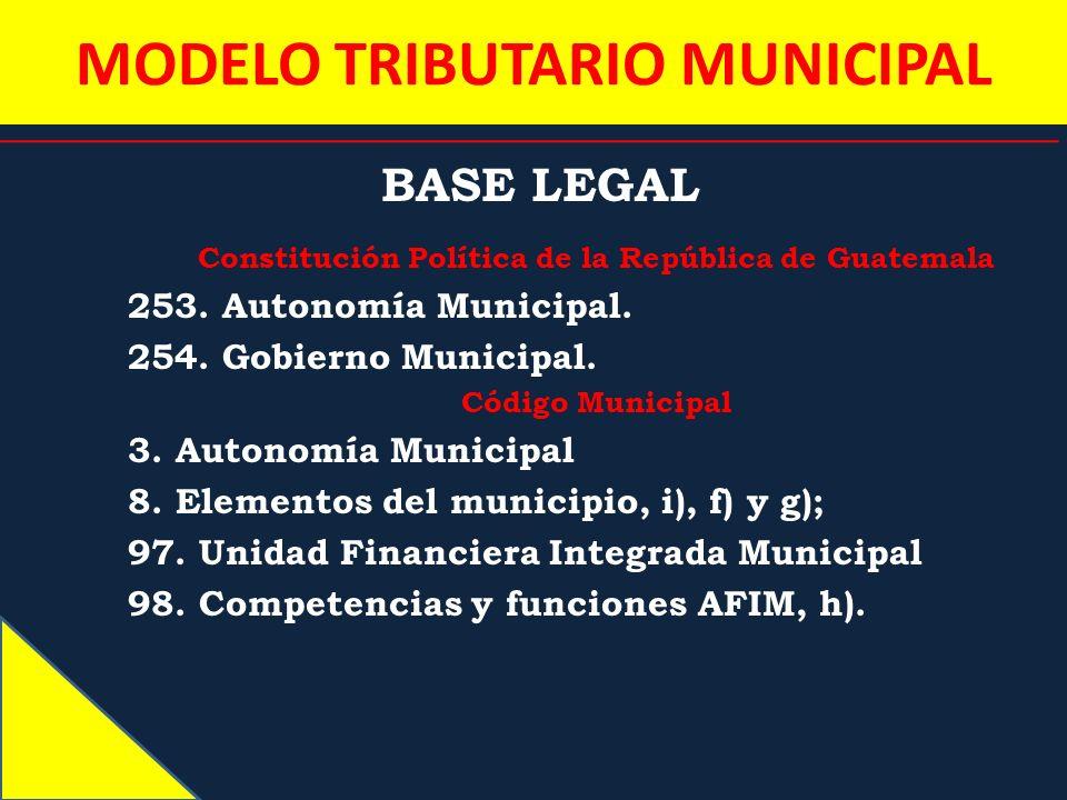 MODELO TRIBUTARIO MUNICIPAL BASE LEGAL Constitución Política de la República de Guatemala 253. Autonomía Municipal. 254. Gobierno Municipal. Código Mu