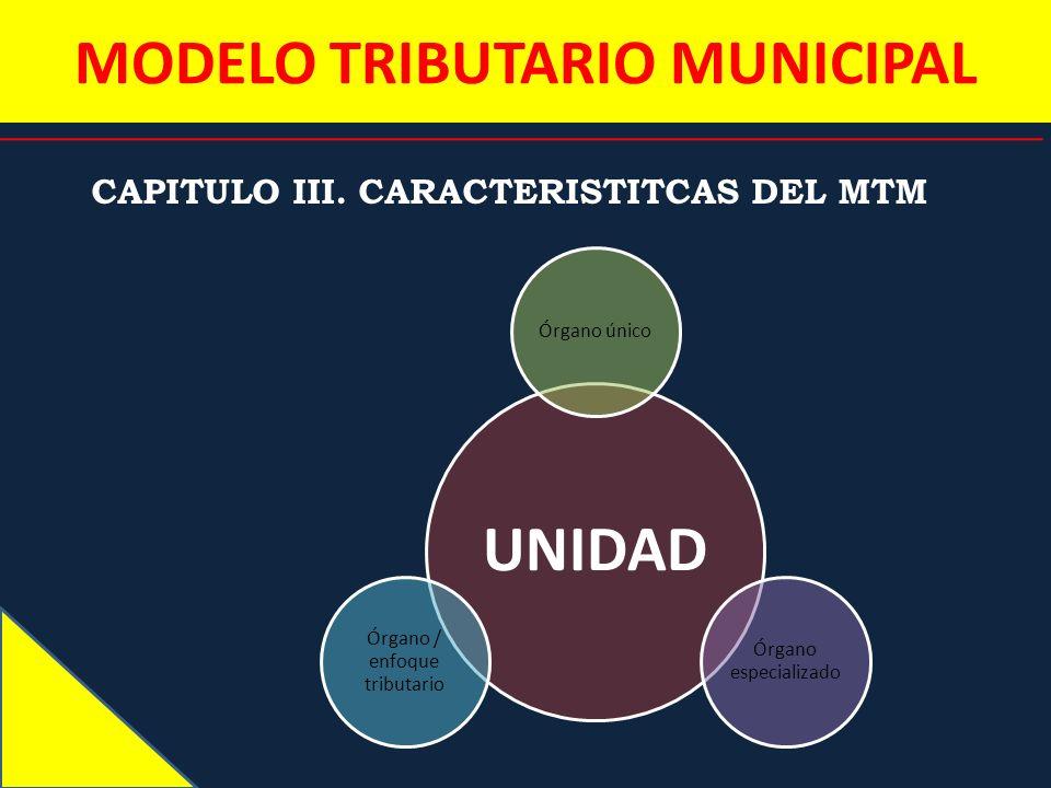 MODELO TRIBUTARIO MUNICIPAL CAPITULO III. CARACTERISTITCAS DEL MTM UNIDAD Órgano único Órgano especializado Órgano / enfoque tributario