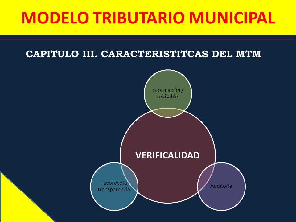 MODELO TRIBUTARIO MUNICIPAL CAPITULO III. CARACTERISTITCAS DEL MTM VERIFICALIDAD Información / revisable Auditoría Favorece la transparencia