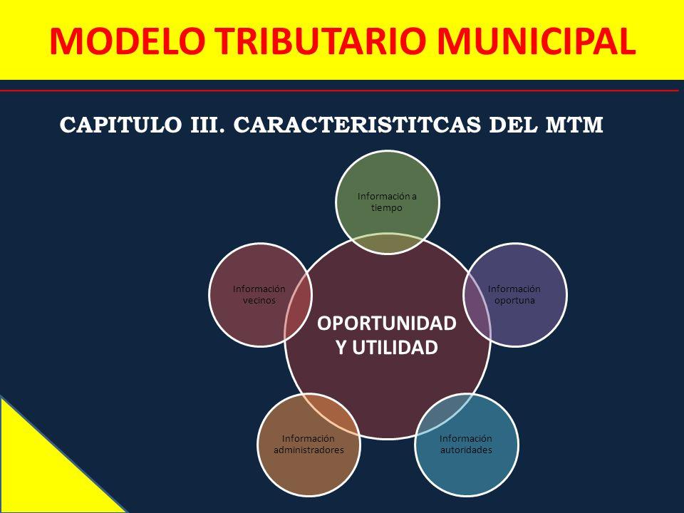 MODELO TRIBUTARIO MUNICIPAL CAPITULO III. CARACTERISTITCAS DEL MTM OPORTUNIDAD Y UTILIDAD Información a tiempo Información oportuna Información autori