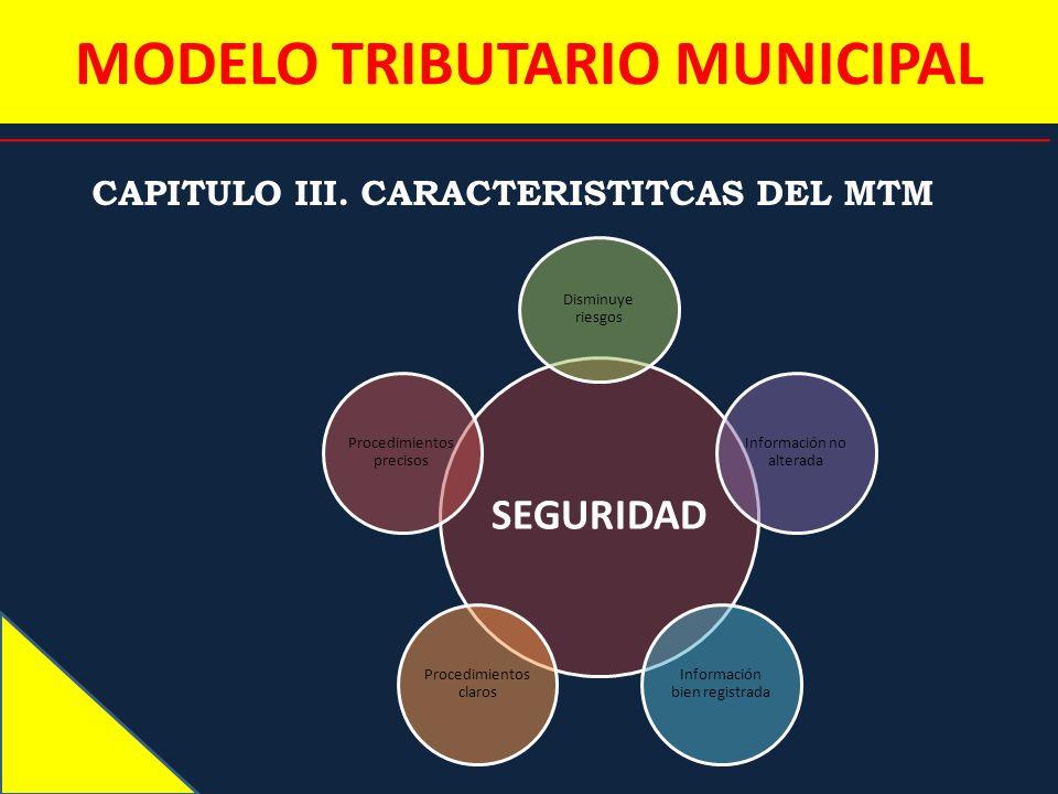 MODELO TRIBUTARIO MUNICIPAL CAPITULO III. CARACTERISTITCAS DEL MTM SEGURIDAD Disminuye riesgos Información no alterada Información bien registrada Pro