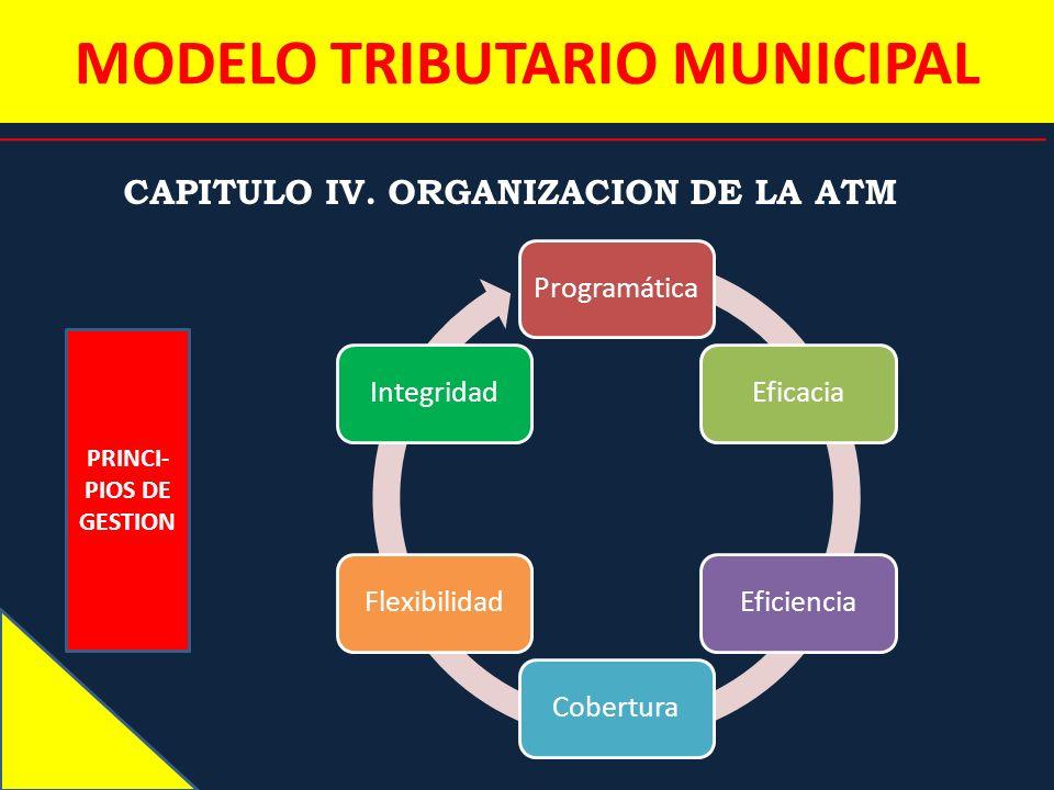 MODELO TRIBUTARIO MUNICIPAL CAPITULO IV. ORGANIZACION DE LA ATM PRINCI- PIOS DE GESTION ProgramáticaEficaciaEficienciaCoberturaFlexibilidadIntegridad