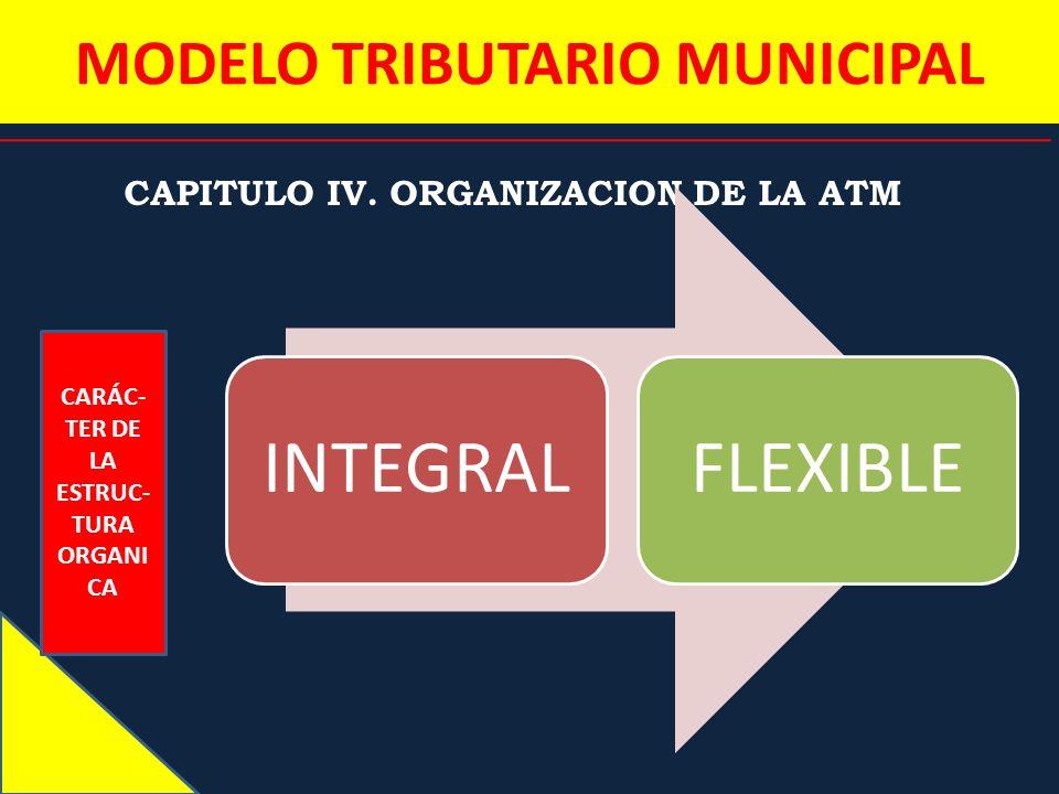 MODELO TRIBUTARIO MUNICIPAL CAPITULO IV. ORGANIZACION DE LA ATM CARÁC- TER DE LA ESTRUC- TURA ORGANI CA INTEGRALFLEXIBLE