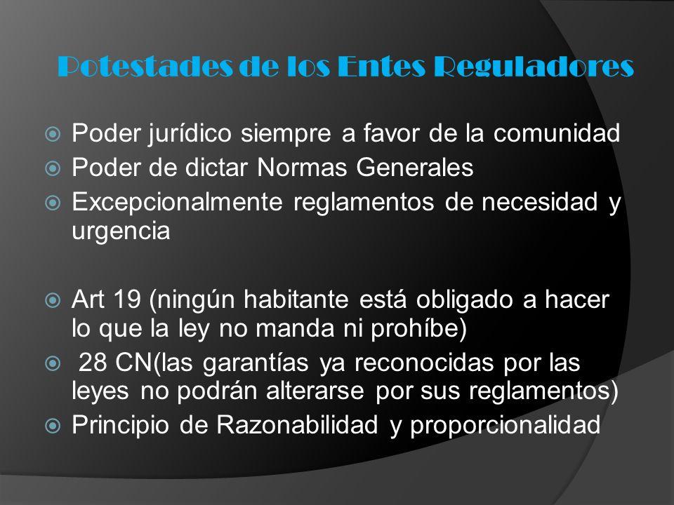 Poder jurídico siempre a favor de la comunidad Poder de dictar Normas Generales Excepcionalmente reglamentos de necesidad y urgencia Art 19 (ningún ha