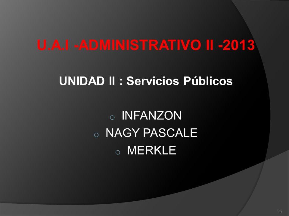 U.A.I -ADMINISTRATIVO II -2013 UNIDAD II : Servicios Públicos o INFANZON o NAGY PASCALE o MERKLE 25