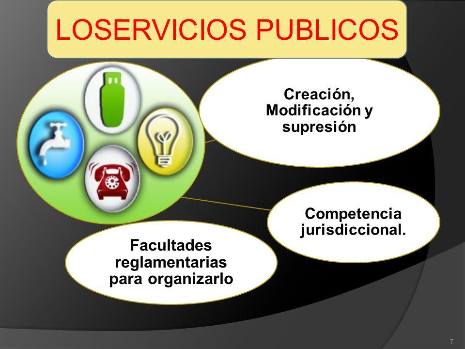 Creación, Modificación y supresión Facultades reglamentarias para organizarlo Competencia jurisdiccional. 7 LOSERVICIOS PUBLICOS