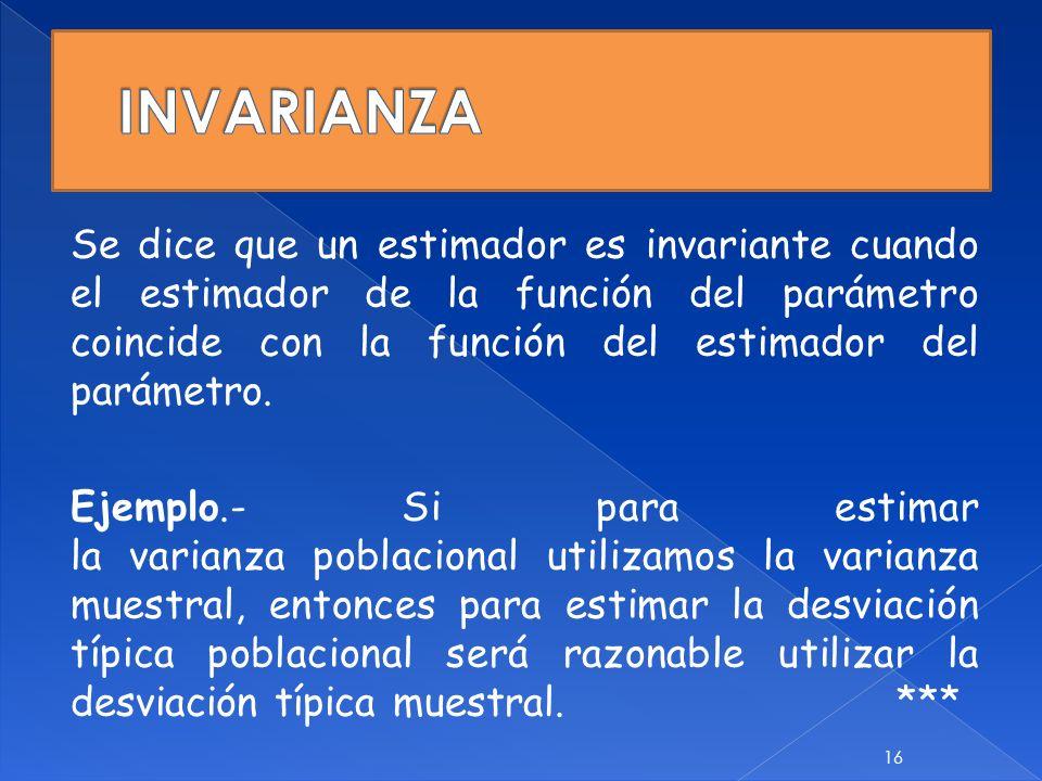Se dice que un estimador es invariante cuando el estimador de la función del parámetro coincide con la función del estimador del parámetro. Ejemplo.-
