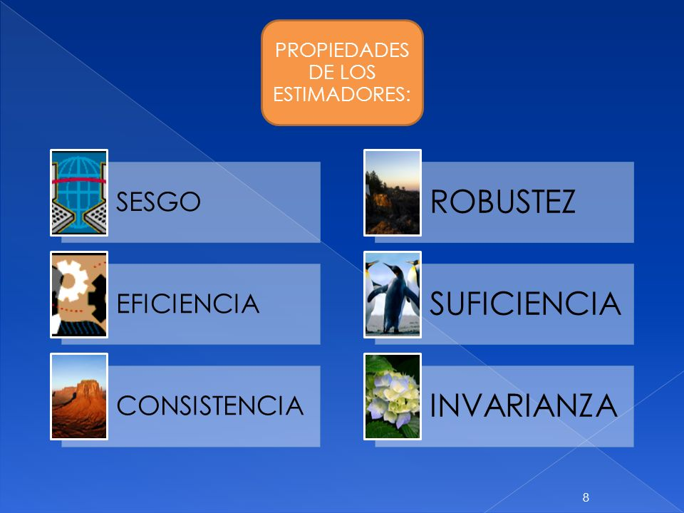 PROPIEDADES DE LOS ESTIMADORES: SESGO EFICIENCIA CONSISTENCIA ROBUSTEZ SUFICIENCIA INVARIANZA 8