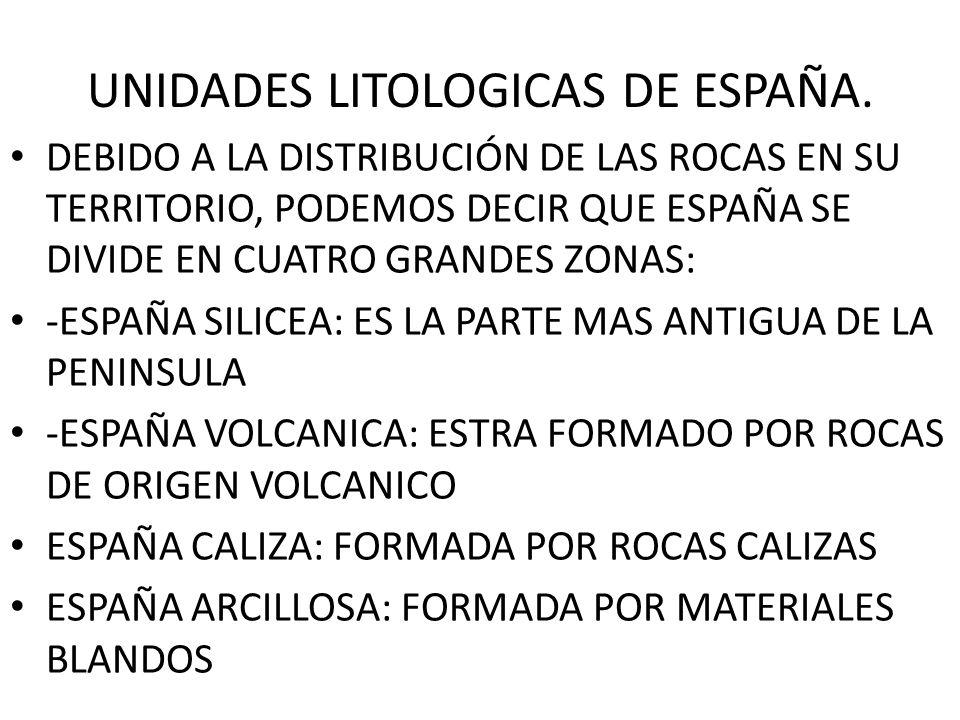 UNIDADES LITOLOGICAS DE ESPAÑA. DEBIDO A LA DISTRIBUCIÓN DE LAS ROCAS EN SU TERRITORIO, PODEMOS DECIR QUE ESPAÑA SE DIVIDE EN CUATRO GRANDES ZONAS: -E