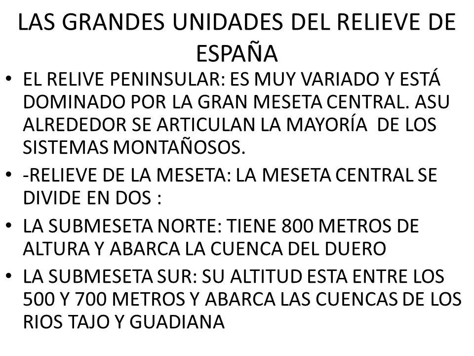 LAS GRANDES UNIDADES DEL RELIEVE DE ESPAÑA EL RELIVE PENINSULAR: ES MUY VARIADO Y ESTÁ DOMINADO POR LA GRAN MESETA CENTRAL. ASU ALREDEDOR SE ARTICULAN