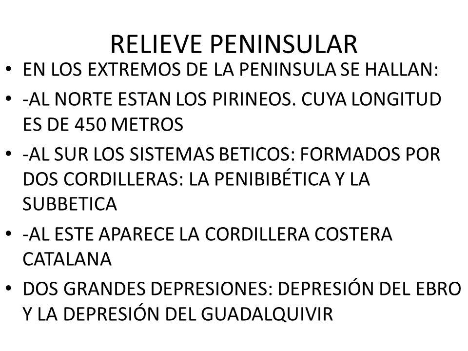 RELIEVE PENINSULAR EN LOS EXTREMOS DE LA PENINSULA SE HALLAN: -AL NORTE ESTAN LOS PIRINEOS. CUYA LONGITUD ES DE 450 METROS -AL SUR LOS SISTEMAS BETICO
