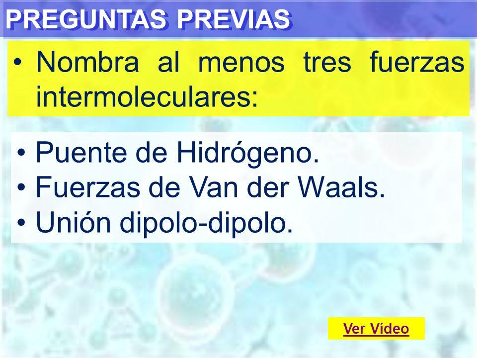 PREGUNTAS PREVIAS Nombra al menos tres fuerzas intermoleculares: Puente de Hidrógeno. Fuerzas de Van der Waals. Unión dipolo-dipolo. Ver Vídeo