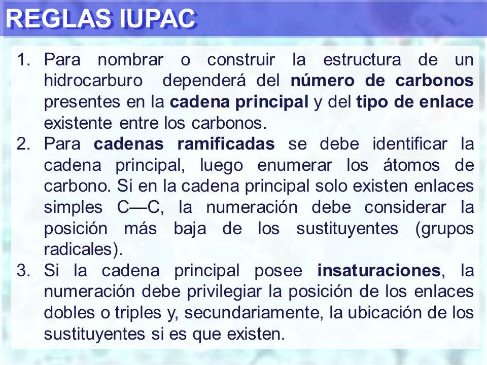 REGLAS IUPAC 1.Para nombrar o construir la estructura de un hidrocarburo dependerá del número de carbonos presentes en la cadena principal y del tipo