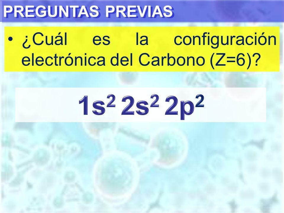 PREGUNTAS PREVIAS ¿Cuál es la configuración electrónica del Carbono (Z=6)?