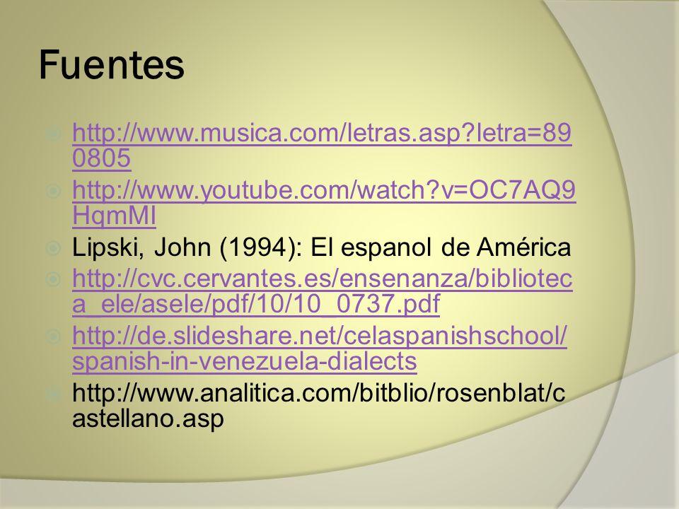 Fuentes http://www.musica.com/letras.asp?letra=89 0805 http://www.musica.com/letras.asp?letra=89 0805 http://www.youtube.com/watch?v=OC7AQ9 HqmMI http