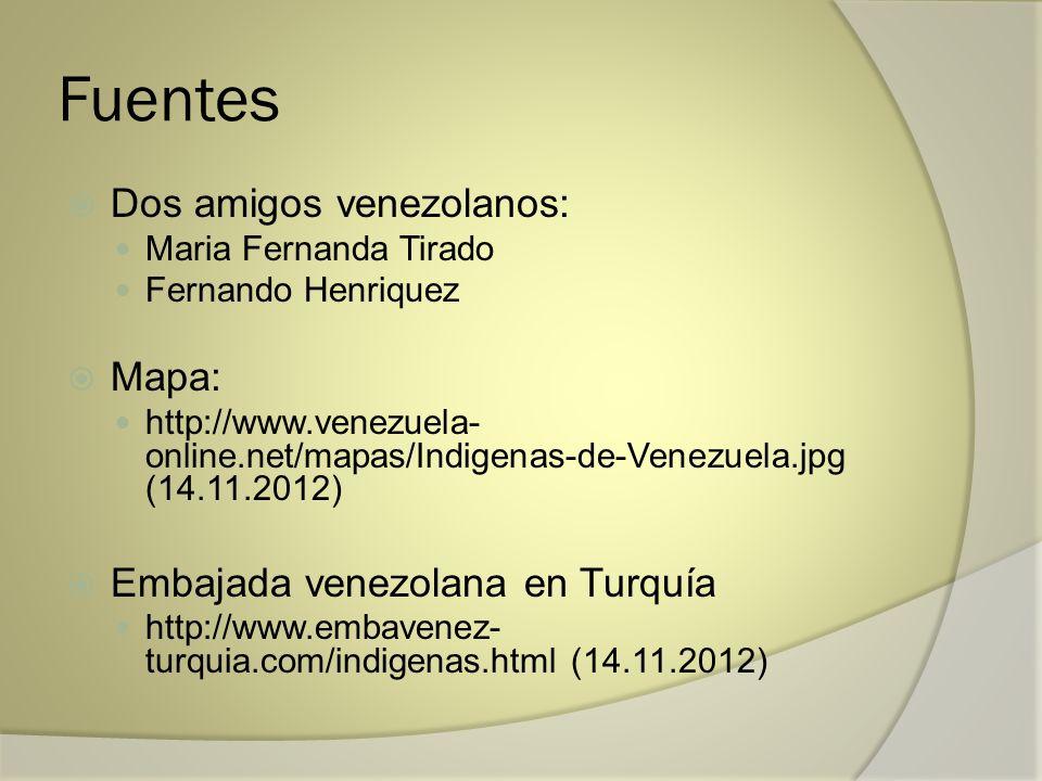 Fuentes Dos amigos venezolanos: Maria Fernanda Tirado Fernando Henriquez Mapa: http://www.venezuela- online.net/mapas/Indigenas-de-Venezuela.jpg (14.1