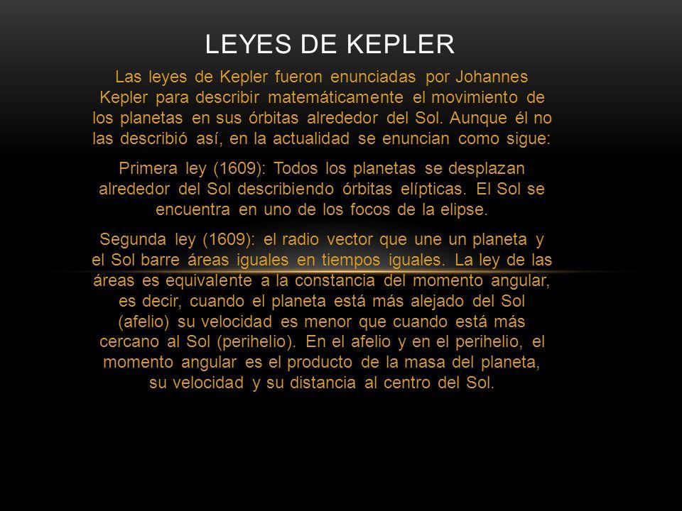 Las leyes de Kepler fueron enunciadas por Johannes Kepler para describir matemáticamente el movimiento de los planetas en sus órbitas alrededor del So