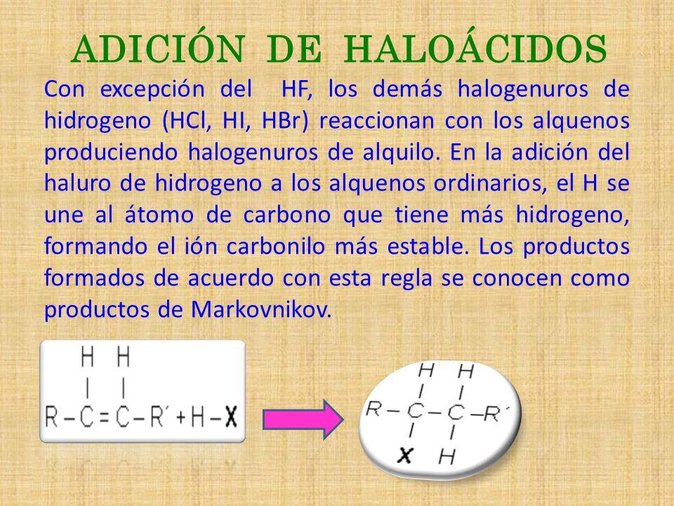 ADICIÓN DE HALOÁCIDOS Con excepción del HF, los demás halogenuros de hidrogeno (HCl, HI, HBr) reaccionan con los alquenos produciendo halogenuros de a