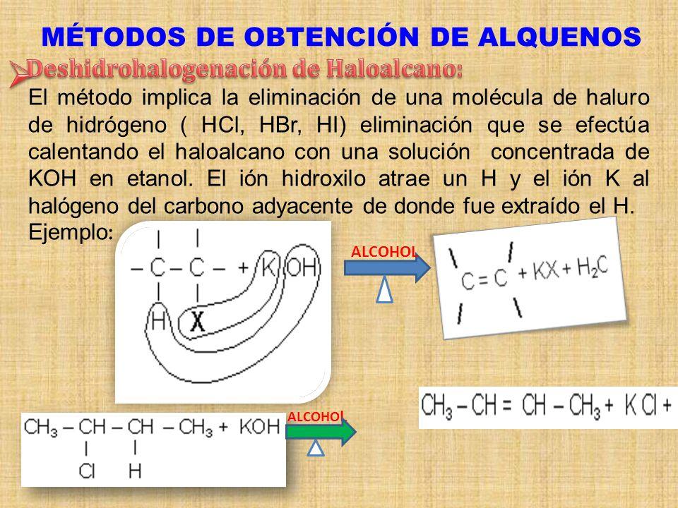MÉTODOS DE OBTENCIÓN DE ALQUENOS El método implica la eliminación de una molécula de haluro de hidrógeno ( HCl, HBr, HI) eliminación que se efectúa ca