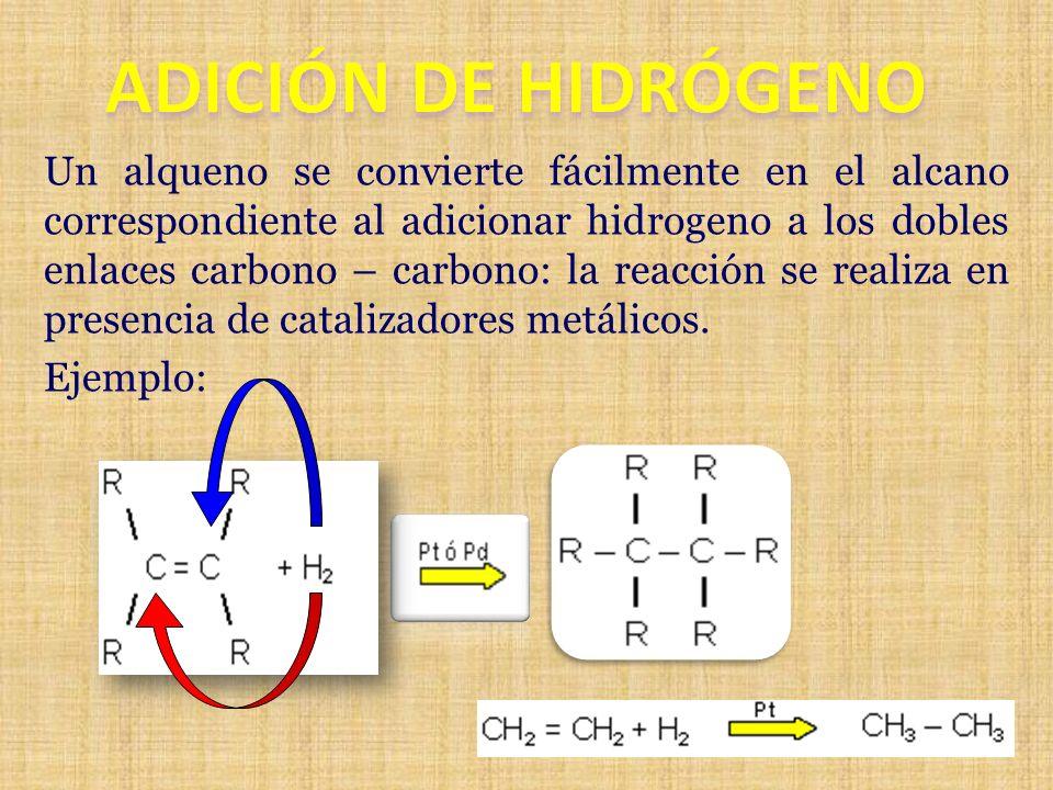 Un alqueno se convierte fácilmente en el alcano correspondiente al adicionar hidrogeno a los dobles enlaces carbono – carbono: la reacción se realiza
