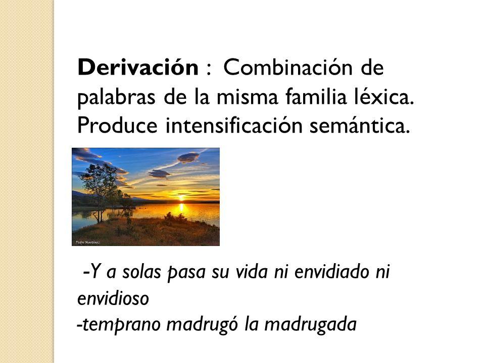 Derivación : Combinación de palabras de la misma familia léxica. Produce intensificación semántica. - Y a solas pasa su vida ni envidiado ni envidioso