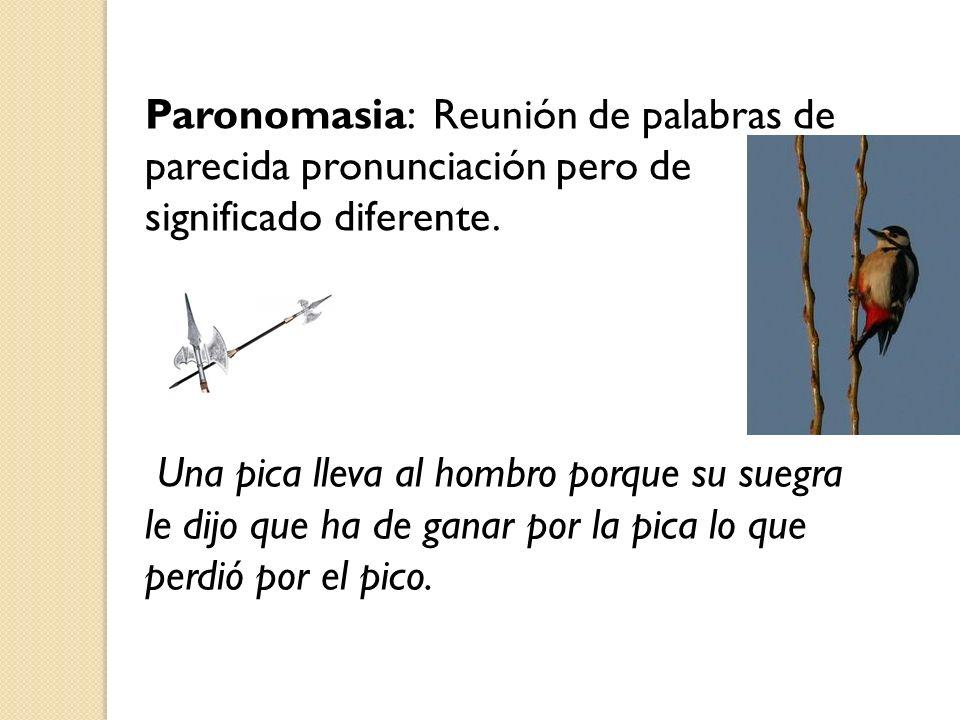 Paronomasia: Reunión de palabras de parecida pronunciación pero de significado diferente. Una pica lleva al hombro porque su suegra le dijo que ha de