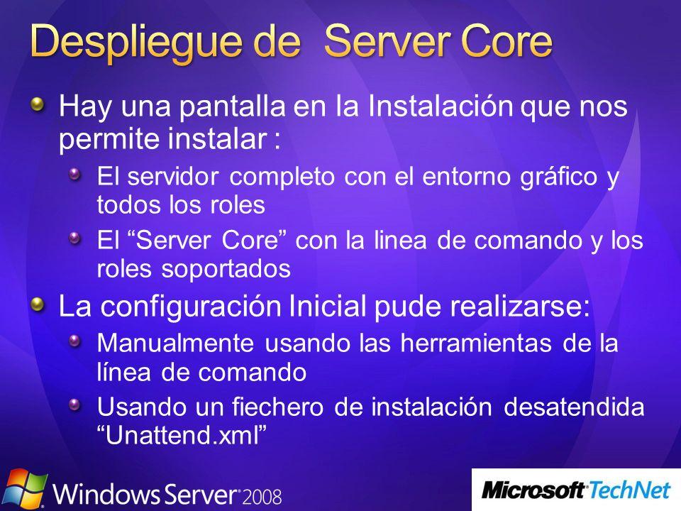 Hay una pantalla en la Instalación que nos permite instalar : El servidor completo con el entorno gráfico y todos los roles El Server Core con la line