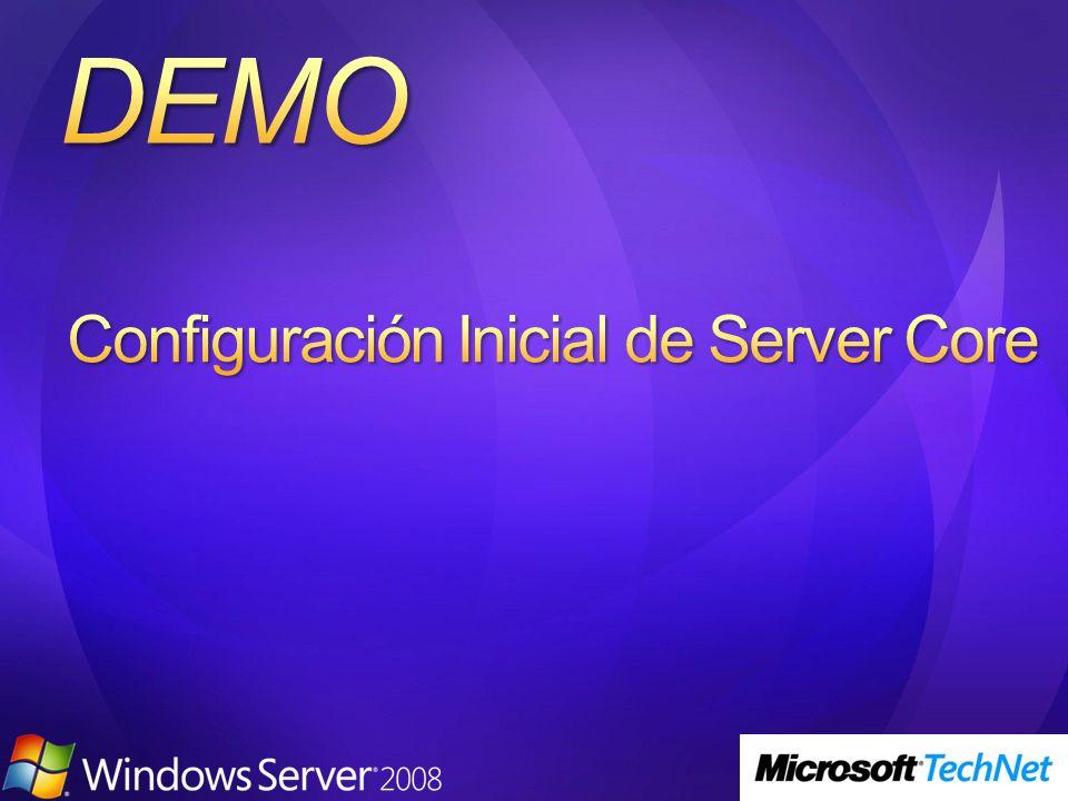 Única herramienta de linea de comando propia de Server Core Lista los roles de servidor y las funcionalidades adicionales que se pueden instalar con OCSetup Lista si los paquetes estan o no instalados
