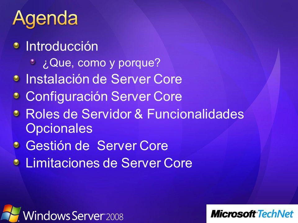 Introducción ¿Que, como y porque? Instalación de Server Core Configuración Server Core Roles de Servidor & Funcionalidades Opcionales Gestión de Serve