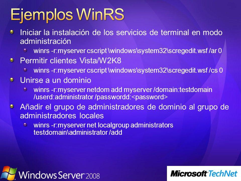 Iniciar la instalación de los servicios de terminal en modo administración winrs -r:myserver cscript \windows\system32\scregedit.wsf /ar 0 Permitir cl