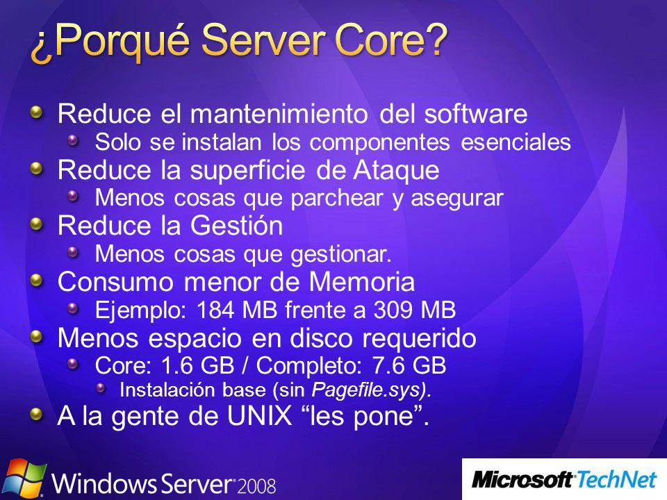 Reduce el mantenimiento del software Solo se instalan los componentes esenciales Reduce la superficie de Ataque Menos cosas que parchear y asegurar Re