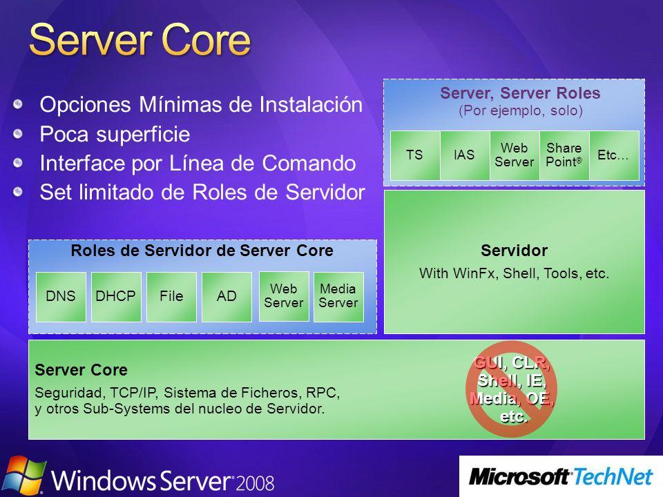 Opciones Mínimas de Instalación Poca superficie Interface por Línea de Comando Set limitado de Roles de Servidor Roles de Servidor de Server Core Serv